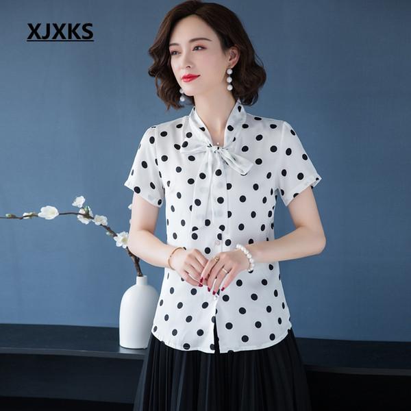 XJXKS 2019 Frauen Chiffon Bluse Sommer Hohe Qualität Dot Frauen Shirts Kurzarm Große Größe Elegante Chiffon Bluse Shirts