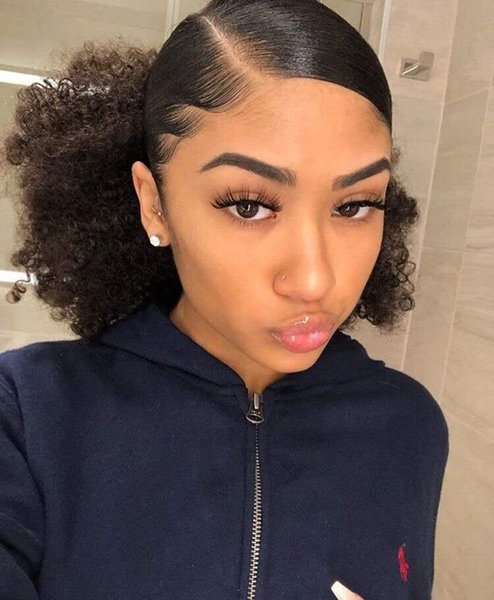short high ponytail hairpiece afro curly Puff drawstring pony tail for black women, puff curly brown Indian virgin hair extension