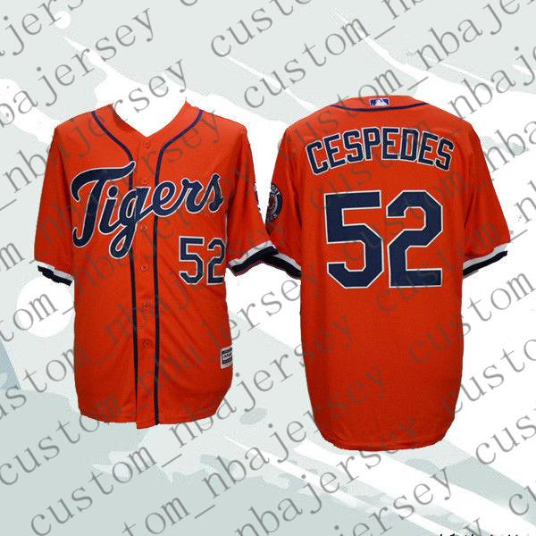 Cheap Custom Yoenis Cespedes #52 Cool Base Baseball jerseys Orange Stitched Retro Mens jerseys Customize any name number XS-5XL