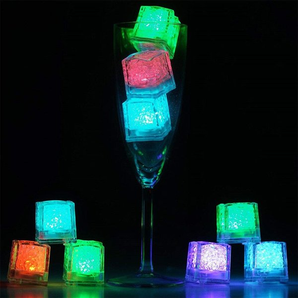 LED Ice Cube LED Light Flashing Submersible Multi-Color Liquid Sensor Glow Lighting for Drinking Wine Wedding Party Bar Decoration