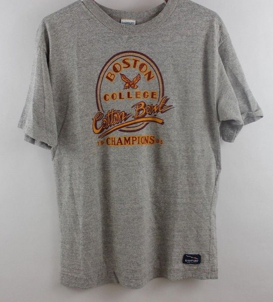vintage 80s BOSTON COLLEGE EAGLES 1985 CHAMPS COTTON BOWL RAYON t-shirt SMALL SFunny free shipping Unisex Casual