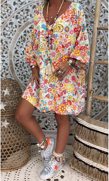 Модные короткие платья с цветочным принтом V-образным вырезом с длинными рукавами Свободные платья 5XL Платье больших размеров
