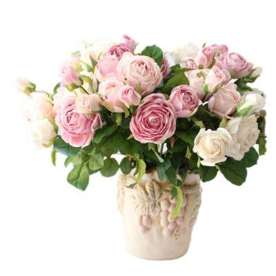 43cm 3 rose britanniche fiori artificiali di alta qualità all'ingrosso fiore di seta fiore squisito modello morbido colore
