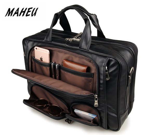 MAHEU Black Men's Leather Briefcase Travel Laptop Bags Handle Official Bussiness Bags On Wheel Mens Tote Handbag Shoulder Bag