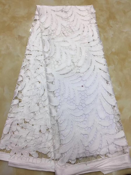 QDY1120 New arrival high quality French cord lace 5 yards water soluble lace fabric in white color for making bridal gown!
