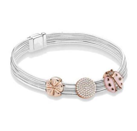 Original 925 Sterling Silver Ladybird Reflexions Multi Snake Chain Pan Bracelet Bangle Fit Women Bead Charm Diy Jewelry