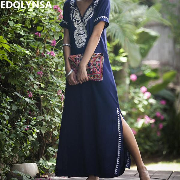 Femmes d'été Casual Blue Dress Court Même Cravate V Cou Broderie Page Split Inde Folk Long Dress Club Party Dress N595 Y19071101