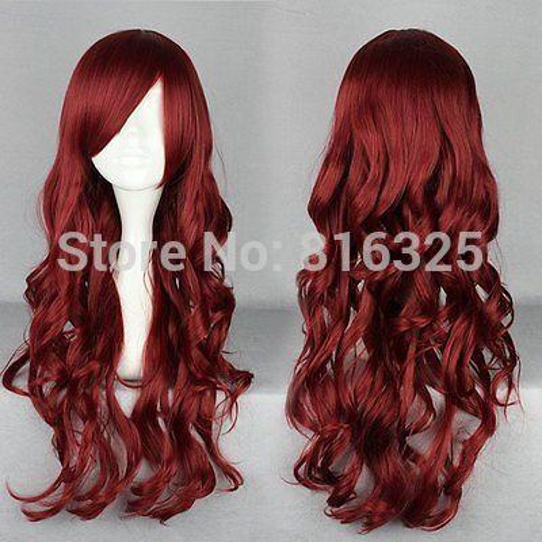 shun Wholesale price >Cheap 70cm Long Red wine Synthetic Hair Wig Beautiful lolita wig Anime Wig