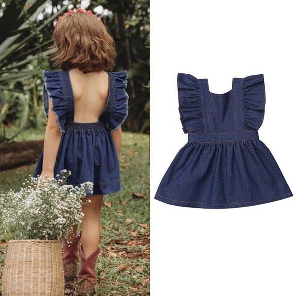 Fashsiualy Verão Pequenas Gils Princesa Vestidos da criança do bebê crianças Meninas Sólidos manga Ruched Denim Princesa Vestidos de roupa