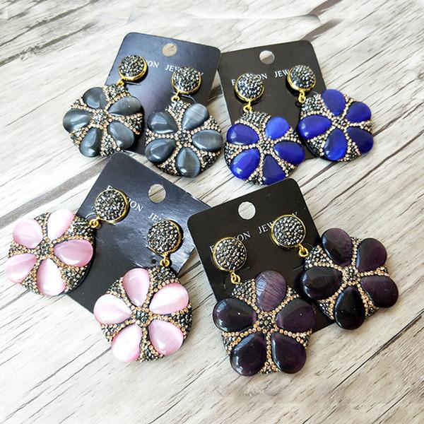Cat Eyes'Stone baumeln Ohrringe, Opal gepflasterte Strass Perlen Earrin, Crystal Quartz Drop Ohrring Frau Schmuck ER805