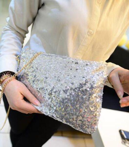 Women Women Glitter Sequin Handbag Shoulder Luxury Sparkling Party Evening Envelope Clutch Bag Wallet Ladies Tote Purse Crossbody Bag