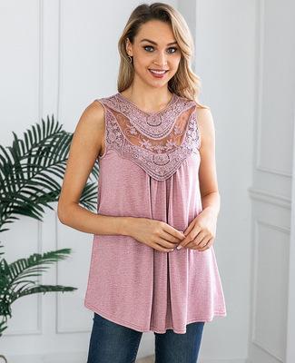 Colete de verão Tops Mulheres Blusas 2019 Moda Lace Crochet Blusa Sem Mangas Das Mulheres Casuais Camisas Finas Senhora Tanque Blusas Feminina