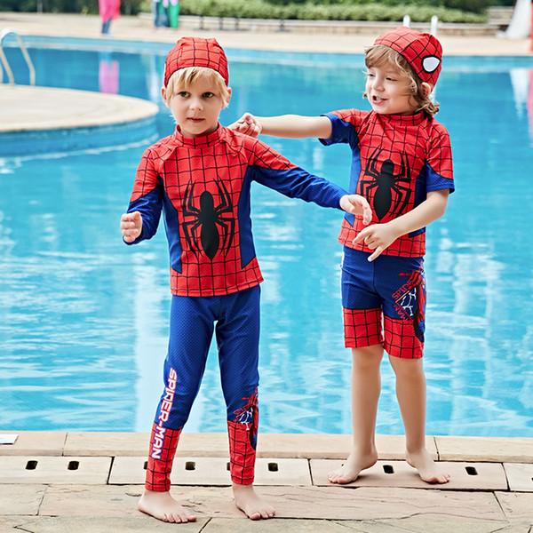 Swimwear Children Boy Swimsuit Two Piece Bathing Suits Swimming Suit Long Sleeve Cartoon Kids Beach Red Blue Surfing Swim Wear Q190518