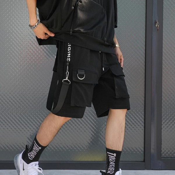 Men Punk Rock Hip Hop Shorts Ribbons Hiphop Cargo Shorts Mens Black Casual Street Wear Elastic Short Pants With Many Pockets SH190719