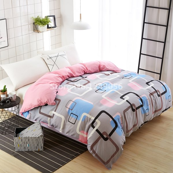 New Design Modern Pink Checkered Plaid Duvet Cover Skin Care Cotton Quilt Cover Twin Full Double Queen KIng Size Comforter Cases
