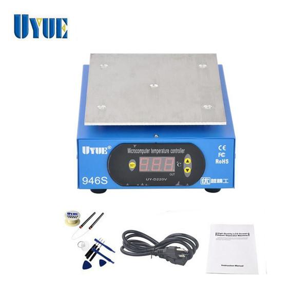 UYUE Precalentamiento Statione + Accesorios 9.6 pulgadas 220 V / 110 V Precalentador Plataforma digital Placa calefactora para teléfono LCD Separador de pantalla