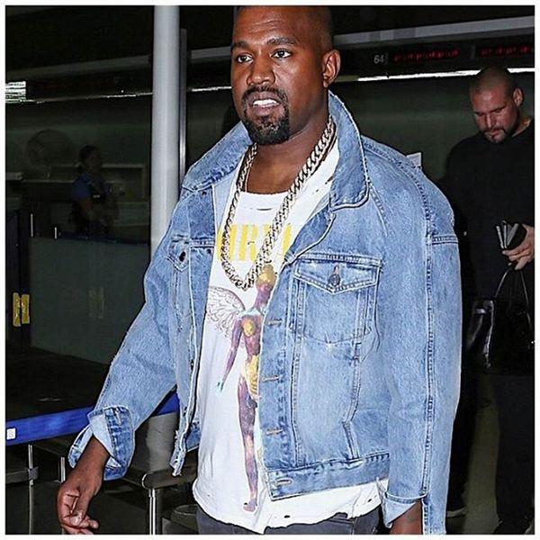 Kanye West 2019 New Retro Washed Denim Jacket Mens Streetwear Jeans Jackets Chaqueta Hombre Bomber Jacket