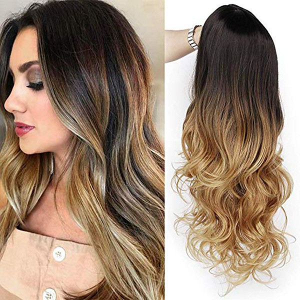 26 Long Curly Ombre Blonde Hairstyle Wig Hair Wigs Black White Fashion Heat Resistant Synthetic Hair Wig For Women Wigs For Black Women Synthetic