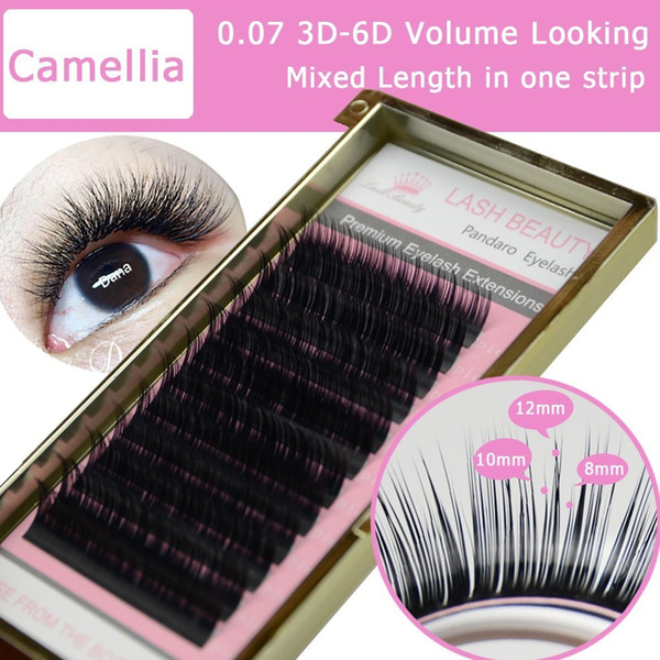 4 Trays Camellia Eyelash Extension 3d-6d 0.07/0.10 Volume Fan Eyelash Extensions Mixed Length In One Lash Strip Golden Fancy Box J190706