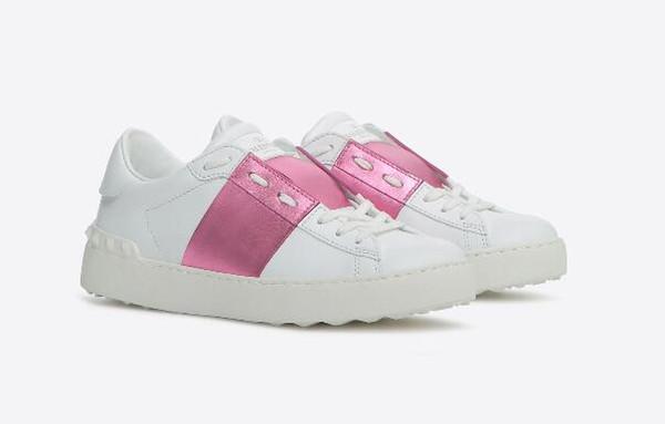 Eğitmenler Lowtop Walking Kırmızı Siyah Bant Lady Konfor Günlük Elbise Ayakkabı Spor Sneaker Erkek Casual Deri Ayakkabı Tasarımcısı Kadınlar Yürüyüş Parkurları