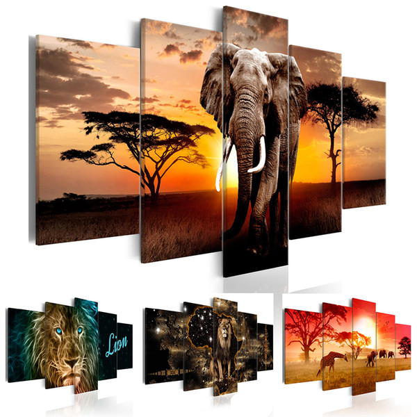 (No Frame)5Panel Animal Painting Pictures Print on The Canvas, Art Wall Decor, Home Wall Art Picture Color Giraffe Lion Elephant