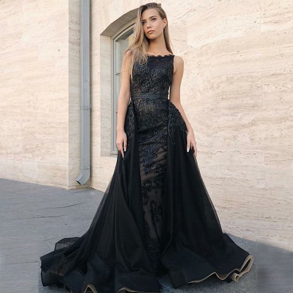 gorgeous lace black evening dresses 2019 slash neck sleeveless appliques lace tulle floor length mermaid formal prom dresses