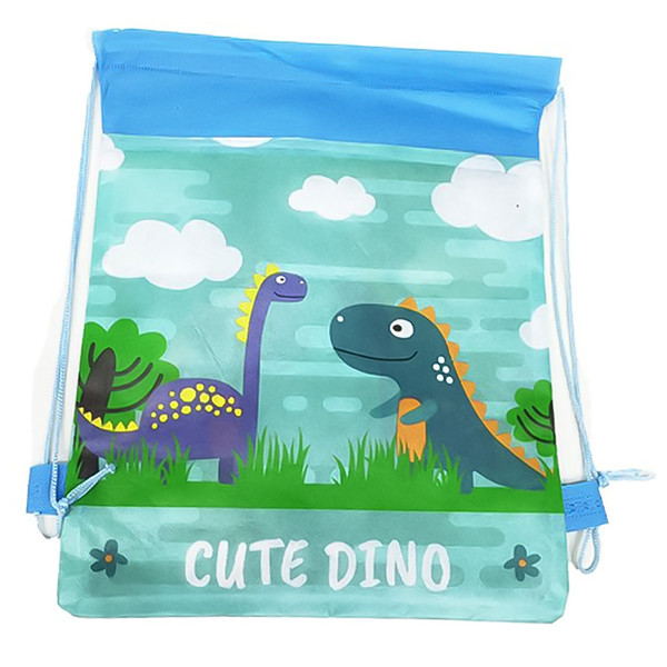 3D Printed Cartoon Dinosaur Backpack Boy Like Non-woven Fabric Drawstring Bag Dust-proof Environment-friendly Child Storage Bag