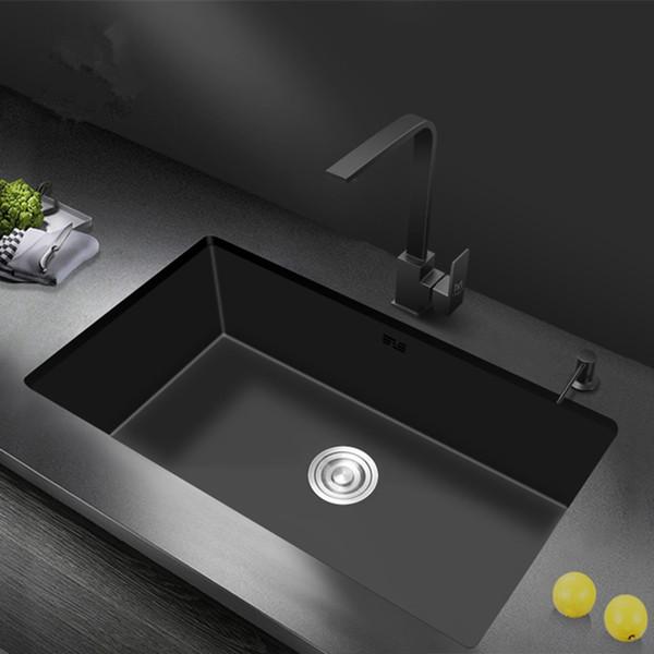 top popular Nano Sink 20 X 16inch Embedded Under Counter Basin 304 Stainless Steel Single Bowl Kitchen Sink - Matte Black 2021