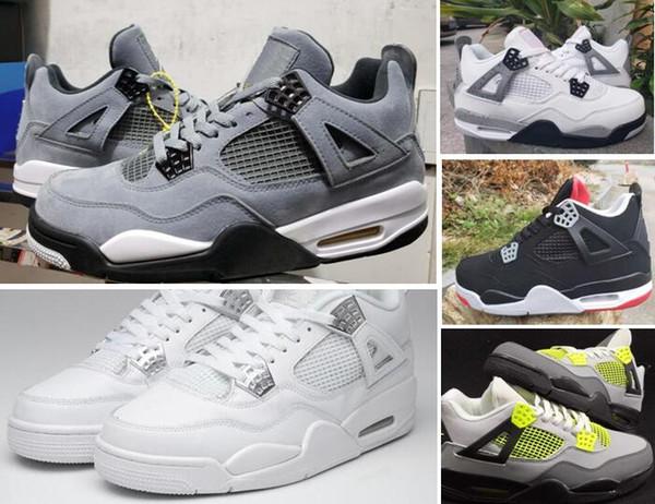 2019-2020 4S Прохладный Серый Bred 4 Белый цемент Неон С Коробкой Баскетбол обувь Мужчины