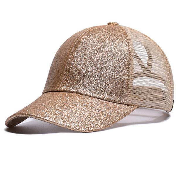 2018 Ponytail Baseball Cap Women Messy Bun Snapback Summer Mesh Hip Hop Hats for Women Casual Sequins Shine Mesh Trucker Hat