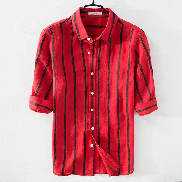 La nuova striscia di marca rossa camicie degli uomini di lino estate camicia casual mens tre quarti manica camicia maschile top moda camicie da uomo chemise