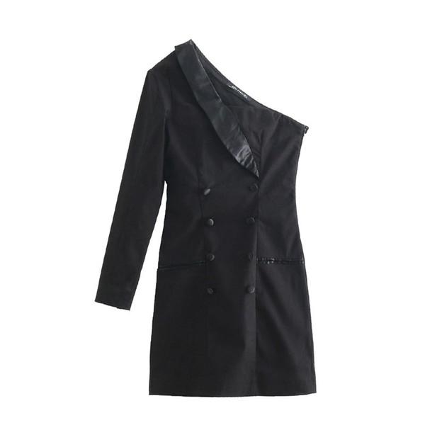 QZ956 Autumn Women's Black Color Double Breasted One Shoulder Blazer Dress Ladies Chic Vestidos