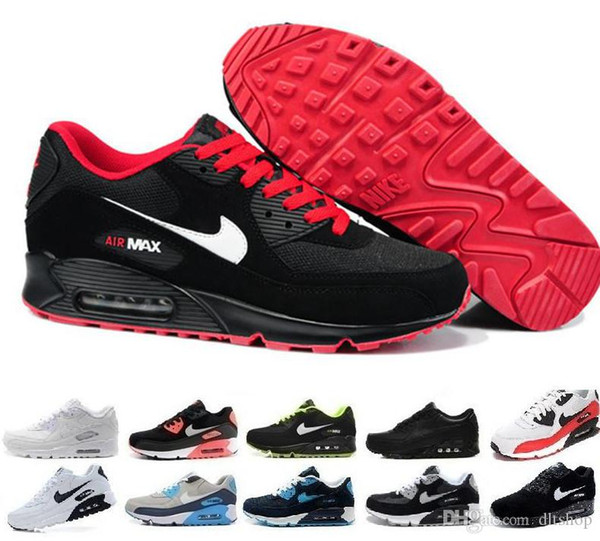 2019New de los hombres zapatos de las mujeres clásicas de 90 hombres y mujeres de los zapatos corrientes Negro Rojo Blanco Entrenador de Deportes del amortiguador de aire de la superficie calzado transpirable Deportes 3