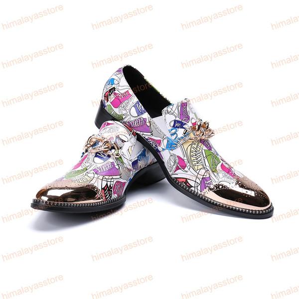 Fashion Multicolour Print Wedding Party Men Shoes Bullock Cow Leather Men Dress Shoes Business Formal Shoes