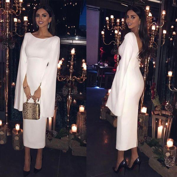 Elegante weiße Tee Länge Abendkleider mit langen Ärmeln zurück Split Scoop Neck kurze Abendgesellschaft Kleid Satin Frauen Formal Dress