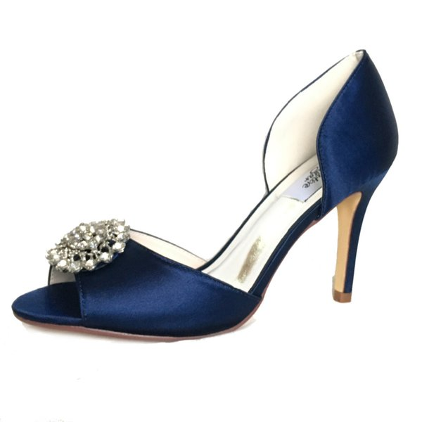 2019 Only 1 pair - Creativesugar navy blue satin evening dress shoes open toe bridal wedding prom cocktail heels lady pumps crystal