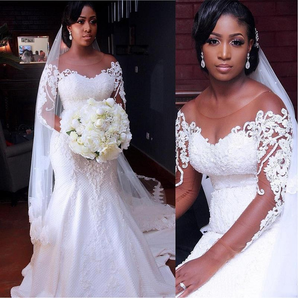 top popular Vintage African Mermaid Wedding Dresses 2020 Vestido De Noiva Long Sleeve Lace Wedding Gowns Black Girl Women Bride Dress 2020