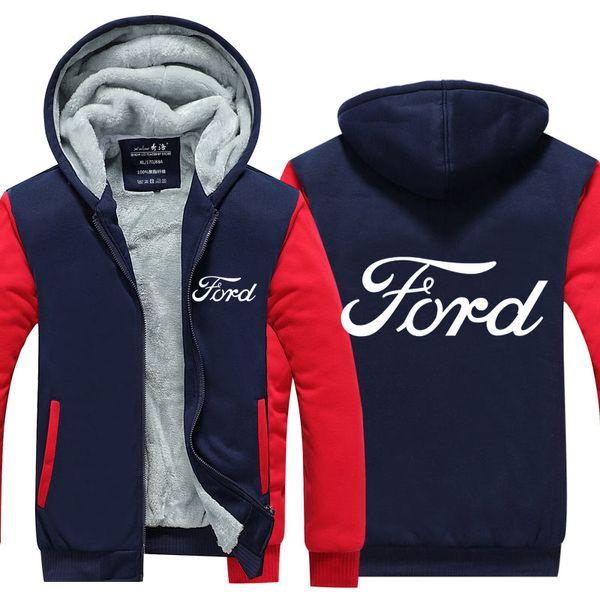 Nouvelle arrivée Ford Hoodies Hommes Femmes Manteau D'hiver Épaissir Polaire Coton Zipper Veste Décontractée Veste Super Chaud Sweat USA Taille UE Plus La Taille