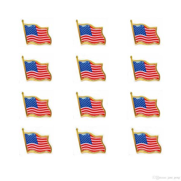 2019 Nueva moda Bandera de los Estados Unidos Pernos de la solapa Esmalte pequeño EE. UU. Americanos que agitan la insignia de la bandera para los hombres Lazo Sombrero Mochila Pins
