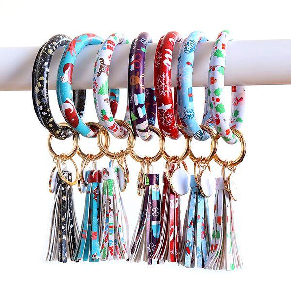 Cuoio catena di Natale chiave del polso del braccialetto Portachiavi nappa Braccialetti Ciondolo Sport Portachiavi Bracciali Bangle Jewelry GGA3064-3