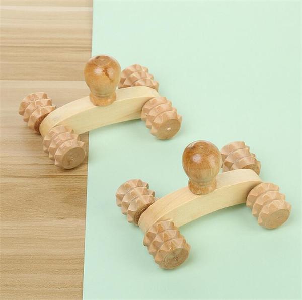 Massaggio integrale in legno massello a quattro ruote in legno per auto Rilassante strumento per il massaggio delle mani Riflessologia plantare