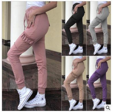 Spot! Autumn and Winter New European and American Blockbuster Pure-colour Ear Loose Leisure Pants Tight Elastic Pants Factory Direct Selling