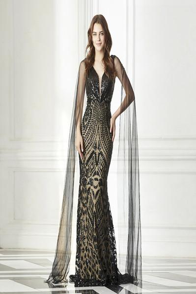 Mode schwarze Abendkleider lange Tüll Flügelärmeln Pailletten sexy tiefem V-Ausschnitt High-End-Prom Kleider Abendkleider Abendkleider nach Maß