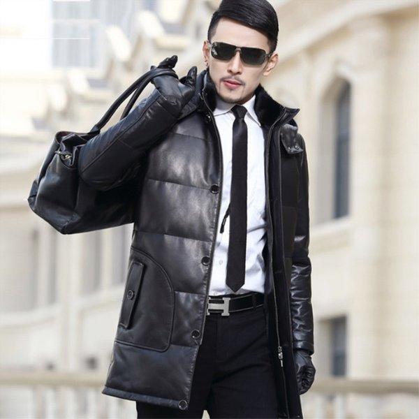 Winter Leather Down Jacket Men Sheepskin Leather Coat Medium Length Windbreaker Standing Collar Hooded Men Warm Coat L-5XL