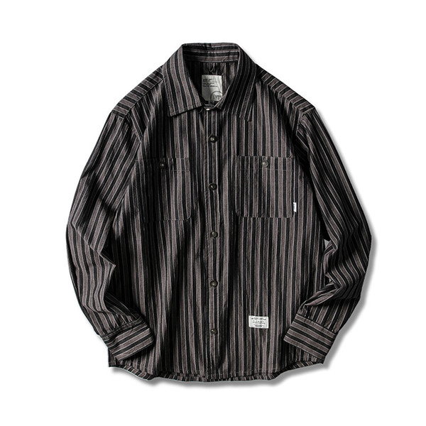 Spring 2019 New American Retro Loose Shirt with Flipped Collar and Long Sleeve Trendy Vertical Men's Stripe Shirt