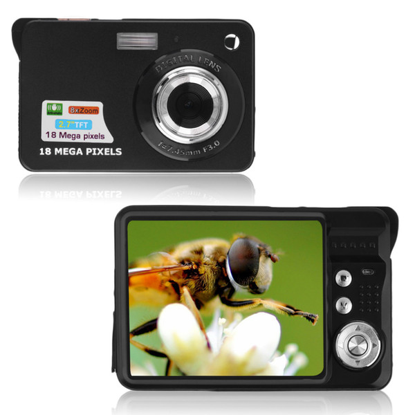 Siyah 9.5 * 6 * 2.5 cm TF kart JPEG / AVI CMOS Senor 2.7 '' TFT LCD HD 720 P 18MP Dijital Kamera Kamera 8x Yakınlaştırma Anti-shake ABD