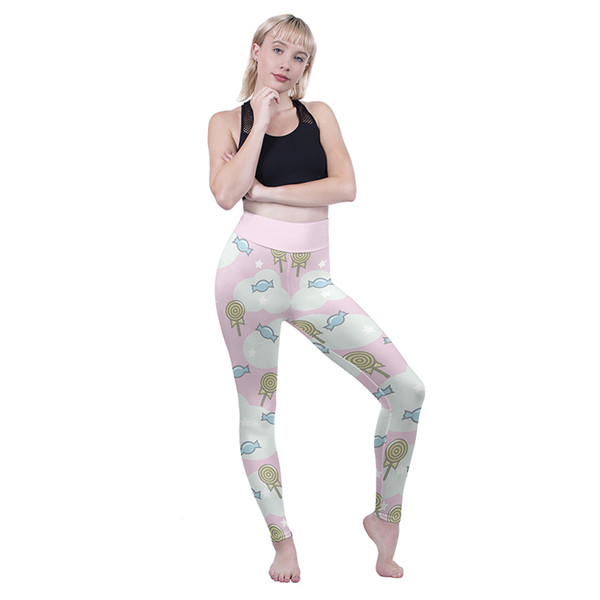 4f5ad0060a0e9 Women High Waist Leggings Sweets Dreams Pink 3D Graphic Full Print Gym Yoga  Wear Pants Lady
