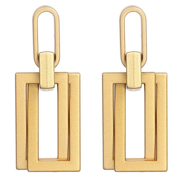 Temperament Drop Fashion Square Earrings for Women 2019 Statement Long Big Geometric Matte Gold Dangling Earring Female Jewelry