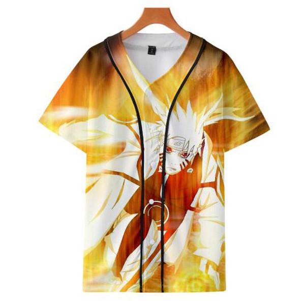 2019 venda quente anime naruto 3d impressão lazer uniforme de beisebol de manga curta moda estilo cool naruto série mulheres / homens t-shirt