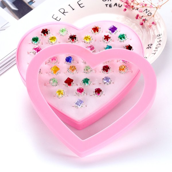 36pcs Children's Toys Rings Jewelry Princess Box Jewelry Little Girl Jewel Rings in Box Pretend Play and Dress Up Rings